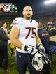 Nov 4, 2013; Green Bay, WI, USA; Chicago Bears guard Kyle Long (75) following the game against the Green Bay Packers at Lambeau Field. Chicago won 27-20.  Mandatory Credit: Jeff Hanisch-USA TODAY Sports