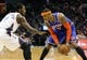 Nov 8, 2013; Charlotte, NC, USA; New York Knicks forward Carmelo Anthony (7) looks to drive past Charlotte Bobcats forward Michael Kidd-Gilchrist (14) during the game at Time Warner Cable Arena. Mandatory Credit: Sam Sharpe-USA TODAY Sports