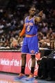Nov 8, 2013; Charlotte, NC, USA; New York Knicks guard Tim Hardaway Jr. (5) calls out to his team during the game against the Charlotte Bobcats at Time Warner Cable Arena. Mandatory Credit: Sam Sharpe-USA TODAY Sports