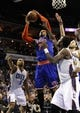Nov 8, 2013; Charlotte, NC, USA; New York Knicks forward Carmelo Anthony (7) fights for the rebound against Charlotte Bobcats forward Michael Kidd-Gilchrist (14) during the game at Time Warner Cable Arena. Mandatory Credit: Sam Sharpe-USA TODAY Sports