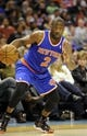 Nov 8, 2013; Charlotte, NC, USA; New York Knicks guard Raymond Felton (2) drives during the game against the Charlotte Bobcats at Time Warner Cable Arena. Mandatory Credit: Sam Sharpe-USA TODAY Sports
