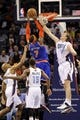 Nov 8, 2013; Charlotte, NC, USA; New York Knicks forward Carmelo Anthony (7) drives to the basket as he is defended by Charlotte Bobcats forward Cody Zeller (40) during the game at Time Warner Cable Arena. Knicks win 101-91. Mandatory Credit: Sam Sharpe-USA TODAY Sports