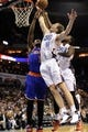 Nov 8, 2013; Charlotte, NC, USA; Charlotte Bobcats forward Cogy Zeller (40) and forward Michael Kidd0Gilchrist (14) fight New York Knicks forward center Amar'e Stoudemire (1) for a rebound during the game at Time Warner Cable Arena. Knicks win 101-91. Mandatory Credit: Sam Sharpe-USA TODAY Sports