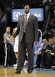 Nov 8, 2013; Charlotte, NC, USA; Charlotte Bobcats assistant coach Patrick Ewing stands in for head coach Steve Clifford (not pictured) during the game against the New York Knicks at Time Warner Cable Arena. Knicks win 101-91. Mandatory Credit: Sam Sharpe-USA TODAY Sports