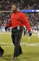 Nov 8, 2013; East Hartford, CT, USA; Louisville Cardinals head coach Charlie Strong reacts  from the sideline as they take on the Connecticut Huskies in the first quarter at Rentschler Field. Mandatory Credit: David Butler II-USA TODAY Sports