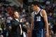 Nov 8, 2013; Auburn Hills, MI, USA; Oklahoma City Thunder head coach Scott Brooks talks to center Steven Adams (12) during the third quarter against the Detroit Pistons at The Palace of Auburn Hills. Mandatory Credit: Tim Fuller-USA TODAY Sports
