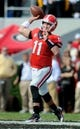 Nov 9, 2013; Athens, GA, USA; Georgia Bulldogs quarterback Aaron Murray (11) passes the ball against the Appalachian State Mountaineers during the second quarter at Sanford Stadium. Mandatory Credit: Dale Zanine-USA TODAY Sports