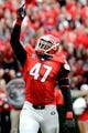Nov 9, 2013; Athens, GA, USA; Georgia Bulldogs defensive end Ray Drew (47) reacts after a sack on Appalachian State Mountaineers quarterback Kameron Bryant (not shown) during the second half at Sanford Stadium. Georgia defeated Appalachian State 45-6. Mandatory Credit: Dale Zanine-USA TODAY Sports