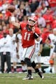 Nov 9, 2013; Athens, GA, USA; Georgia Bulldogs quarterback Aaron Murray (11) passes the ball against the Appalachian State Mountaineers during the second half at Sanford Stadium. Georgia defeated Appalachian State 45-6. Mandatory Credit: Dale Zanine-USA TODAY Sports