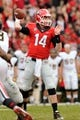 Nov 9, 2013; Athens, GA, USA; Georgia Bulldogs quarterback Hutson Mason (14) throws a pass against the Appalachian State Mountaineers during the second half at Sanford Stadium. Georgia defeated Appalachian State 45-6. Mandatory Credit: Dale Zanine-USA TODAY Sports