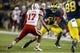 Nov 9, 2013; Ann Arbor, MI, USA; Nebraska Cornhuskers cornerback Ciante Evans (17) moves to tackle Michigan Wolverines tight end Jake Butt (88) in the third quarter at Michigan Stadium. Mandatory Credit: Rick Osentoski-USA TODAY Sports