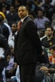 Nov 9, 2013; Memphis, TN, USA; Golden State Warriors head coach Mark Jackson looks on as his players play against Memphis Grizzlies during the first quarter at FedExForum. Mandatory Credit: Justin Ford-USA TODAY Sports
