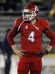 Nov 9, 2013; Laramie, WY, USA; Fresno State Bulldogs quarterback Derek Carr (4) warms up before a game against the Wyoming Cowboys at War Memorial Stadium. Mandatory Credit: Troy Babbitt-USA TODAY Sports