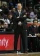 Nov 9, 2013; Atlanta, GA, USA; Atlanta Hawks head coach Mike Budenholzer coaches against the Orlando Magic in the first half at Philips Arena. Mandatory Credit: Brett Davis-USA TODAY Sports