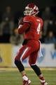 Nov 9, 2013; Laramie, WY, USA; Fresno State Bulldogs quarterback Derek Carr (4) looks to throw against the Wyoming Cowboys during the first quarter at War Memorial Stadium. Mandatory Credit: Troy Babbitt-USA TODAY Sports