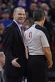 November 9, 2013; Sacramento, CA, USA; Sacramento Kings head coach Michael Malone (left) argues with NBA referee Ken Mauer (41) during the third quarter against the Portland Trail Blazers at Sleep Train Arena. The Trail Blazers defeated the Kings 96-85. Mandatory Credit: Kyle Terada-USA TODAY Sports