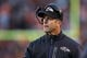 Nov 3, 2013; Cleveland, OH, USA; Baltimore Ravens head coach John Harbaugh during the game against the Cleveland Browns at FirstEnergy Stadium. Mandatory Credit: Rick Osentoski-USA TODAY Sports