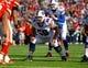 Nov 3, 2013; Orchard Park, NY, USA; Buffalo Bills guard Doug Legursky (59) against the Kansas City Chiefs at Ralph Wilson Stadium. Mandatory Credit: Timothy T. Ludwig-USA TODAY Sports