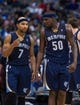 Nov 2, 2013; Dallas, TX, USA; Memphis Grizzlies point guard Jerryd Bayless (7) and power forward Zach Randolph (50) during the game against the Dallas Mavericks at the American Airlines Center. The Mavericks defeated the Grizzlies 111-99. Mandatory Credit: Jerome Miron-USA TODAY Sports