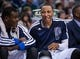 Nov 2, 2013; Dallas, TX, USA; Dallas Mavericks small forward Shawn Marion (0) and center Samuel Dalembert (1) sit on the bench during the game against the Memphis Grizzlies at the American Airlines Center. The Mavericks defeated the Grizzlies 111-99. Mandatory Credit: Jerome Miron-USA TODAY Sports
