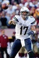Nov 3, 2013; Landover, MD, USA; San Diego Chargers quarterback Philip Rivers (17) throws the ball against the Washington Redskins at FedEx Field. Mandatory Credit: Geoff Burke-USA TODAY Sports