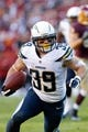 Nov 3, 2013; Landover, MD, USA; San Diego Chargers running back Danny Woodhead (39) carries the ball against the Washington Redskins at FedEx Field. Mandatory Credit: Geoff Burke-USA TODAY Sports