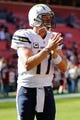 Nov 3, 2013; Landover, MD, USA; San Diego Chargers quarterback Philip Rivers (17) stands on the field prior to the Chargers' game against the Washington Redskins at FedEx Field. Mandatory Credit: Geoff Burke-USA TODAY Sports