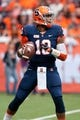 Nov 2, 2013; Syracuse, NY, USA; Syracuse Orange quarterback Terrel Hunt (10) sets up to throw a pass during the first quarter of a game against the Wake Forest Demon Deacons at the Carrier Dome.Syracuse won the game 13-0. Mandatory Credit: Mark Konezny-USA TODAY Sports