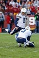 Nov 3, 2013; Landover, MD, USA; San Diego Chargers kicker Nick Novak (9) kicks the ball against the Washington Redskins at FedEx Field. Mandatory Credit: Geoff Burke-USA TODAY Sports