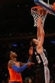 Nov 10, 2013; New York, NY, USA;  San Antonio Spurs shooting guard Manu Ginobili (20) dunks during the fourth quarter against the New York Knicks at Madison Square Garden. Spurs won 120-89.  Mandatory Credit: Anthony Gruppuso-USA TODAY Sports