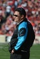 November 10, 2013; San Francisco, CA, USA; Carolina Panthers head coach Ron Rivera watches from the sideline against the San Francisco 49ers during the third quarter at Candlestick Park. The Panthers defeated the 49ers 10-9. Mandatory Credit: Kyle Terada-USA TODAY Sports