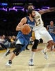 Nov 10, 2013; Los Angeles, CA, USA; Minnesota Timberwolves point guard Ricky Rubio (9) drives past Los Angeles Lakers center Jordan Hill (27) in the first half of the game at Staples Center. Mandatory Credit: Jayne Kamin-Oncea-USA TODAY Sports