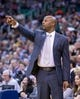 Nov 11, 2013; Salt Lake City, UT, USA; Denver Nuggets head coach Brian Shaw during the first half against the Utah Jazz at EnergySolutions Arena. Mandatory Credit: Russ Isabella-USA TODAY Sports