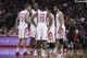 Nov 11, 2013; Houston, TX, USA; The Houston Rockets talk during the fourth quarter against the Toronto Raptors at Toyota Center. The Rockets won 110-104. Mandatory Credit: Andrew Richardson-USA TODAY Sports
