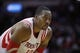 Nov 11, 2013; Houston, TX, USA; Houston Rockets center Dwight Howard (12) during the first overtime period at Toyota Center. Mandatory Credit: Andrew Richardson-USA TODAY Sports