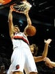 Nov 11, 2013; Portland, OR, USA; Portland Trail Blazers center Joel Freeland (19) dunks the ball during the third quarter of the game against the Detroit Pistons at Moda Center. The Blazers won the game 109-103. Mandatory Credit: Steve Dykes - USA TODAY Sports