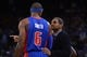 November 12, 2013; Oakland, CA, USA; Detroit Pistons head coach Maurice Cheeks (right) instructs small forward Josh Smith (6) against the Golden State Warriors during the first quarter at Oracle Arena. The Warriors defeated the Pistons 113-95. Mandatory Credit: Kyle Terada-USA TODAY Sports