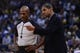 November 12, 2013; Oakland, CA, USA; Detroit Pistons head coach Maurice Cheeks (right) argues with NBA referee Tom Washington (49, left) against the Golden State Warriors during the third quarter at Oracle Arena. The Warriors defeated the Pistons 113-95. Mandatory Credit: Kyle Terada-USA TODAY Sports