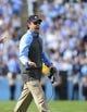 Nov 9, 2013; Chapel Hill, NC, USA; North Carolina Tar Heels head coach Larry Fedora reacts in the first quarter at Kenan Memorial Stadium. Mandatory Credit: Bob Donnan-USA TODAY Sports
