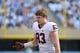 Nov 9, 2013; Chapel Hill, NC, USA; Virginia Cavaliers tight end Jake McGee (83) reacts in the second quarter at Kenan Memorial Stadium. Mandatory Credit: Bob Donnan-USA TODAY Sports
