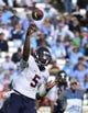 Nov 9, 2013; Chapel Hill, NC, USA; Virginia Cavaliers quarterback David Watford (5) passes the ball in the second quarter at Kenan Memorial Stadium. Mandatory Credit: Bob Donnan-USA TODAY Sports