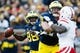 Nov 9, 2013; Ann Arbor, MI, USA; Michigan Wolverines quarterback Devin Gardner (98) passes the ball in the first quarter against the Nebraska Cornhuskers at Michigan Stadium. Mandatory Credit: Rick Osentoski-USA TODAY Sports