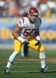Nov 9, 2013; Berkeley, CA, USA; Southern California Trojans linebacker Anthony Sarao (56) during the game against the California Golden Bears at Memorial Stadium. USC defeated California 62-28. Mandatory Credit: Kirby Lee-USA TODAY Sports