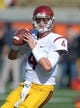 Nov 9, 2013; Berkeley, CA, USA; Southern California Trojans quarterback Max Browne (4) throws a pass before the game against the California Golden Bears at Memorial Stadium. USC defeated California 62-28. Mandatory Credit: Kirby Lee-USA TODAY Sports