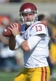 Nov 9, 2013; Berkeley, CA, USA; Southern California Trojans quarterback Max Wittek (13) throws a pass before the game against the California Golden Bears at Memorial Stadium. USC defeated California 62-28. Mandatory Credit: Kirby Lee-USA TODAY Sports