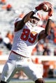 Nov 2, 2013; Charlottesville, VA, USA; Clemson Tigers tight end Jay Jay McCullough (89) catches the ball during warm ups prior to the Tigers game against the Virginia Cavaliers at Scott Stadium. Mandatory Credit: Geoff Burke-USA TODAY Sports