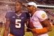 Nov 2, 2013; Charlottesville, VA, USA; Clemson Tigers quarterback Tajh Boyd (10) stands with Virginia Cavaliers quarterback David Watford (5) after their game at Scott Stadium. Mandatory Credit: Geoff Burke-USA TODAY Sports