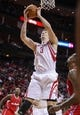 Nov 9, 2013; Houston, TX, USA; Houston Rockets center Omer Asik (3) gets a rebound during the third quarter against the Los Angeles Clippers at Toyota Center. Mandatory Credit: Troy Taormina-USA TODAY Sports