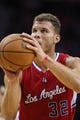Nov 9, 2013; Houston, TX, USA; Los Angeles Clippers power forward Blake Griffin (32) attempts a free throw during the third quarter against the Houston Rockets at Toyota Center. Mandatory Credit: Troy Taormina-USA TODAY Sports