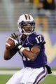 Nov 9, 2013; Seattle, WA, USA; Washington Huskies quarterback Keith Price (17) looks to pass the ball during the game against the Colorado Buffaloes at Husky Stadium. Washington defeated Colorado 59-7. Mandatory Credit: Steven Bisig-USA TODAY Sports
